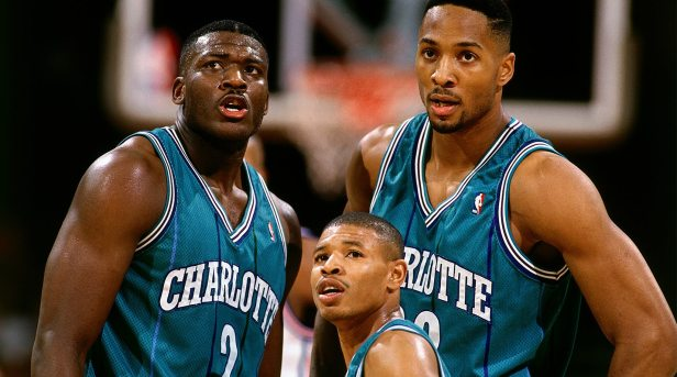 (From left to right) Larry Johnson, Muggsy Bogues, Alonzo Mourning.