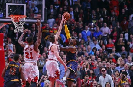 Pau Gasol blocks LeBron James to seal the Bull win.