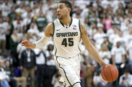 Denzel Valentine #45 handling the ball for Michigan State.