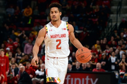 COLLEGE PARK, MD - FEBRUARY 19: Melo Trimble #2 of the Maryland Terrapins handles the ball against the Nebraska Cornhuskers at the Xfinity Center on February 19, 2015 in College Park, Maryland. (Photo by G Fiume/Maryland Terrapins/Getty Images)